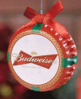 budweiser beer bottle cap with red bow ornament item