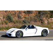 White Porsche 918 Passing By On Pacific Coast Highway In Malibu CA