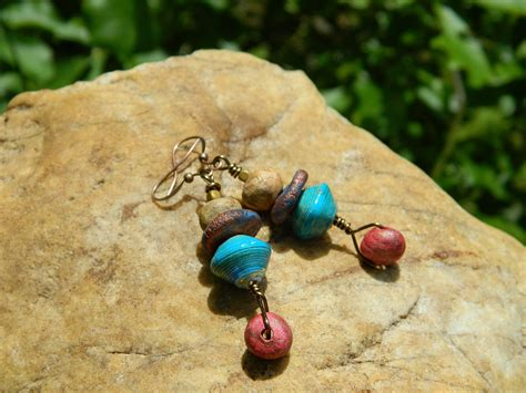 Paper Clay Jewelry - stoneware clay and paper bead drop earrings