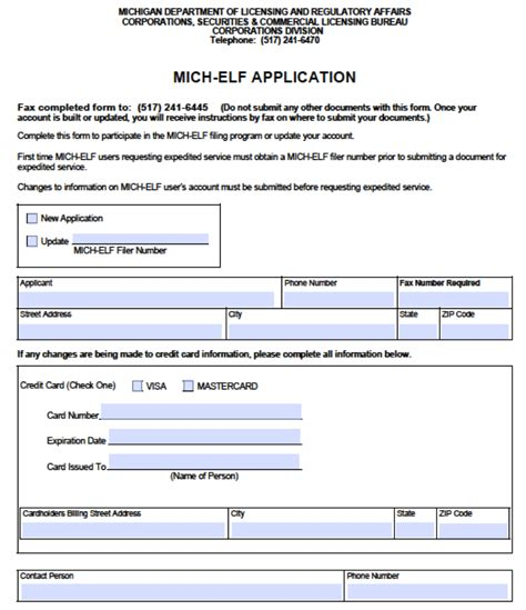 printable elf application let your elf help you file in michigan wolverine startup law