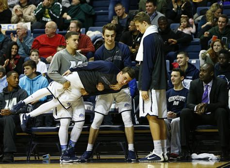 basketball bench celebrations monmouth university s basketball stars are the bench