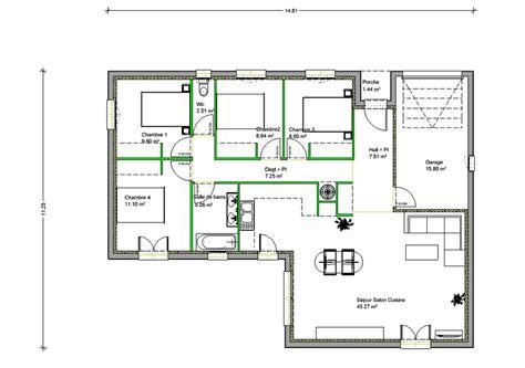 plan maison plain pied en l 4 chambres plan de maison en l de plain pied gratuit evtod
