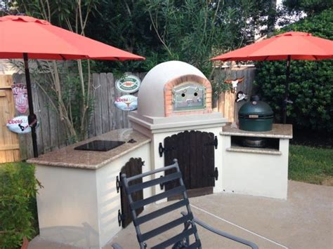 Kitchen Oven And Grill Brick Pizza Oven In Outdoor Kitchen With Ceramic Kamado