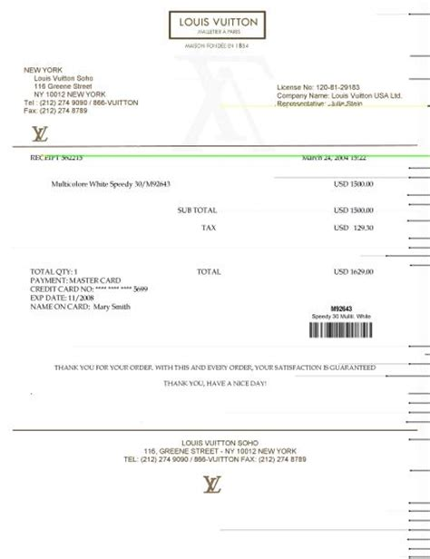 Louis Vuitton Receipt Template Maker by Louis Vuitton E Luxury Templates