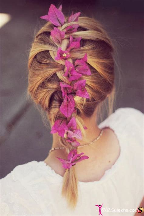french plait with flowers hairstyles 2014 pretty designs