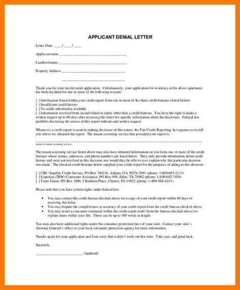 application letter for rental sle applicant rejection letter rejection letter