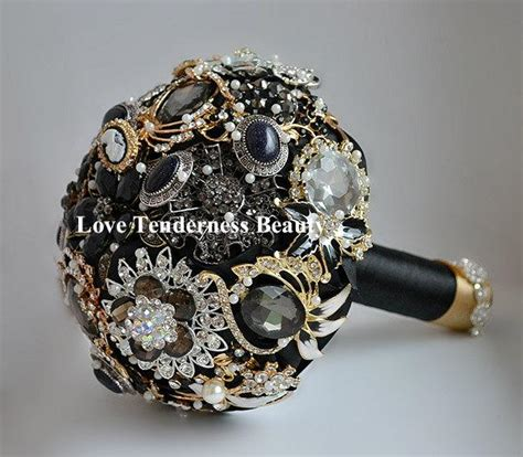 Wedding Bouquets For Sale by Sale 7 Quot Black Brooch Bouquet Black And Gold Silver