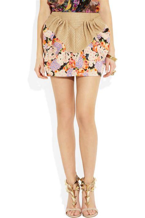 floral print mini skirt delpozo s floral print twill and raffia mini skirt
