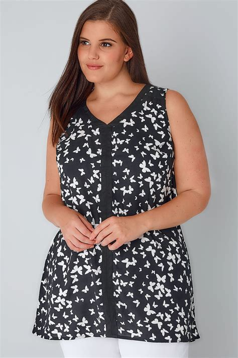 Barrow Butterfly Print Black Trim 1 black white butterfly print sleeveless top with contrast trim plus size 16 to 36