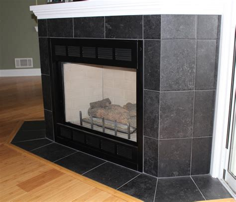black tile fireplace endearing home interior decoration with porcelain tile