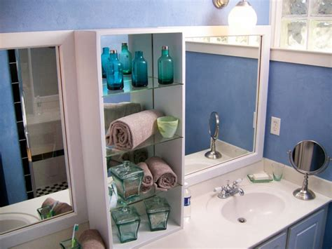 bathroom mirrors with storage ideas white wooden storage with three glass shelves between