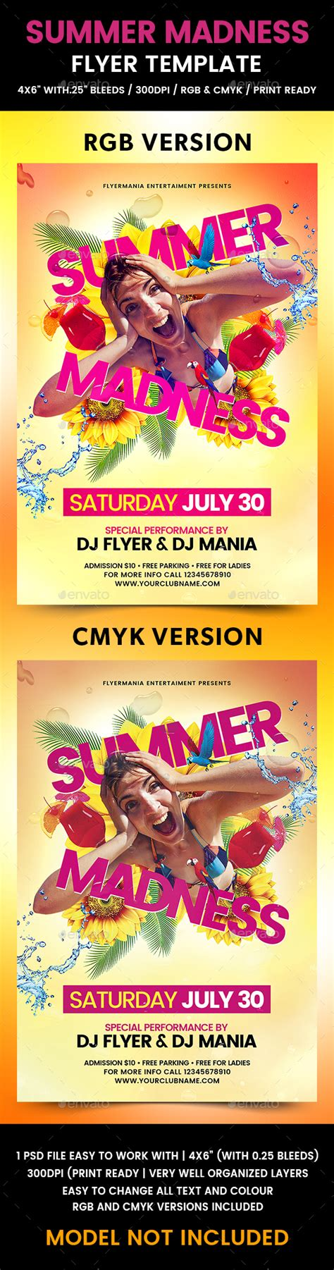 Summer Madness Flyer Template By Flyermania Graphicriver Madness Flyer Template