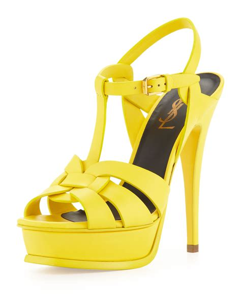 mustard yellow sandals laurent womens tribute high heel leather sandal
