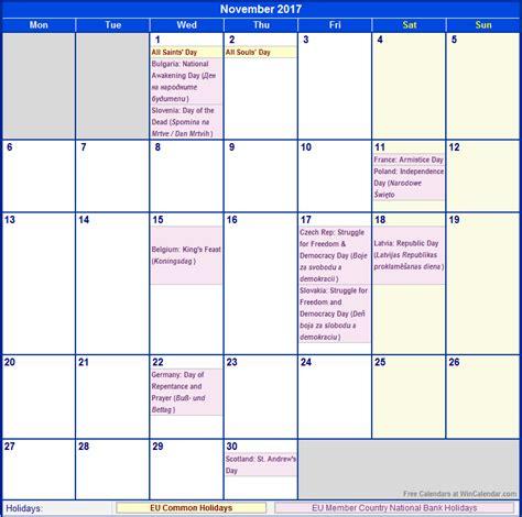 printable december 2017 calendar wincalendar november 2017 eu calendar with holidays for printing