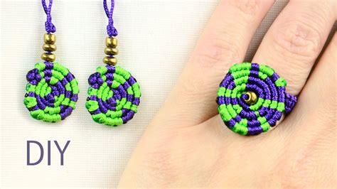 Macrame Ring Tutorial - multicolored macrame ring and earrings tutorial
