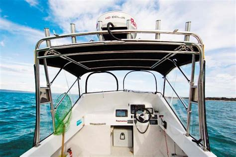 fishing boat bimini fitting stainless to our haines v19r project boat trade