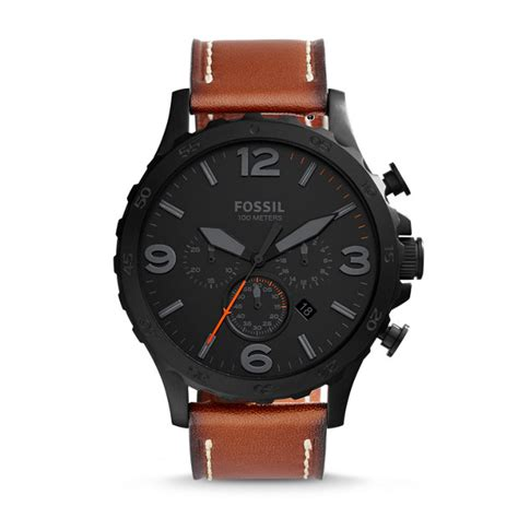 nate chronograph luggage leather fossil