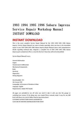 subaru impreza service repair manual 1993 1994 1995 1996 download 1993 1994 1995 1996 subaru impreza service repair workshop manual instant download by jshfjsnnef