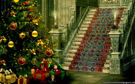 christmas stairs decoration 1920x1200 wallpaper
