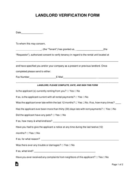rental verification letter template free rent landlord verification form pdf word