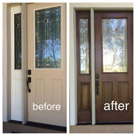 How To Stain Front Door My Fiberglass Front Door Had Wood Grain So I Decided To Use Zar Wood Stain This Is Not A Gel