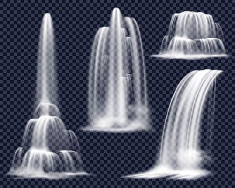 realistic waterfalls  transparent background set
