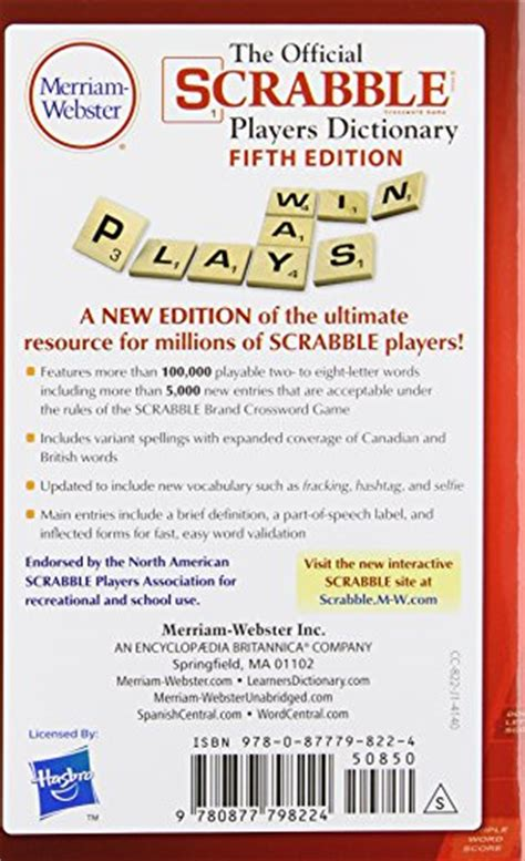 scrabble dictionary za the official scrabble players dictionary new 5th edition