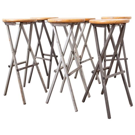 Folding Bar Stools by Metal And Birch Folding Bar Stools At 1stdibs