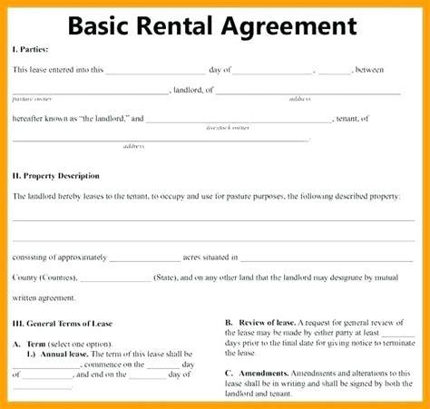 basic rental agreement letter template floridaframeandart great 40 basic rental agreement 8