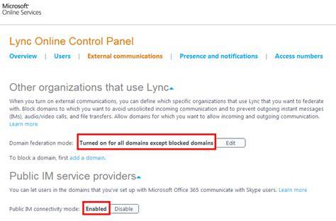 Office 365 Portal External Lync On Premise With Office 365 Federation Error Id 403