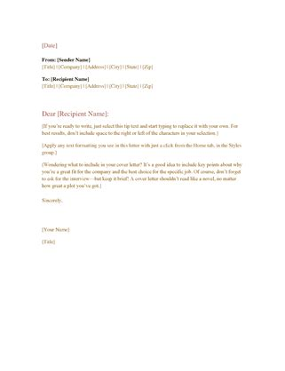 Business Cover Letter Template Word by Formal Business Letter Office Templates