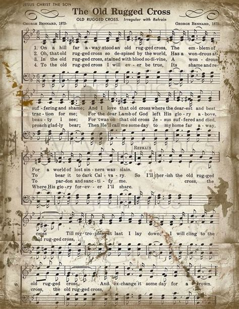 Sheet For Rugged Cross by The Rugged Cross Sheet Christian Hymn By