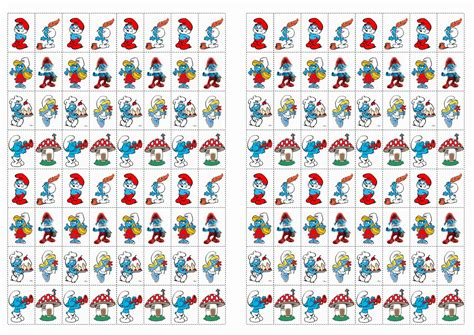 smurfs stickers birthday printable