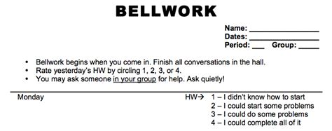 bellwork template sines of learning bellwork and closure