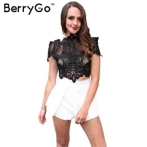 Trend Black Lace Goes Chic by Berrygo Summer Style Black Lace Tops Causal