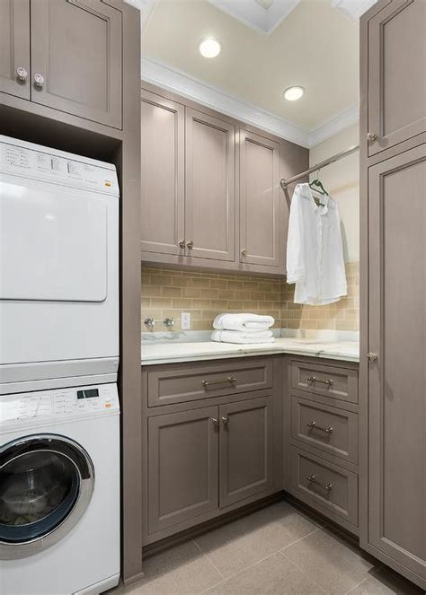 Gray Laundry Room Cabinets With Tension Pole Clothes Gray Laundry