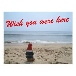 Wish You Were Here Postcard Template gnome wish you were here postcard zazzle