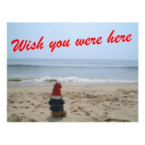 gnome wish you were here postcard zazzle