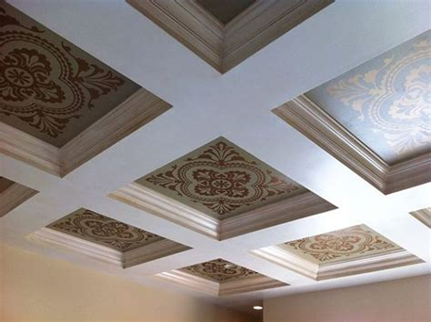Ceiling Stencil by Gorgeous Stenciled Coffered Ceiling With Modello 174 Designs