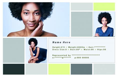 free comp card templates for actor model headshots