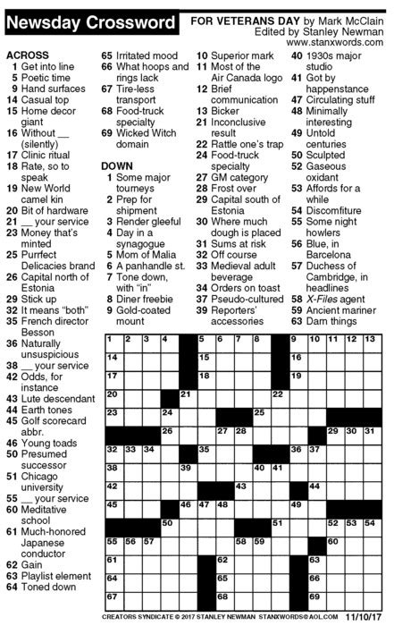 usa today crossword march 17 newsday crossword puzzle for nov 10 2017 by stanley
