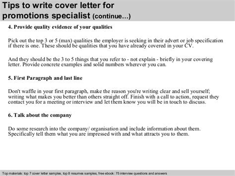 Promotions Specialist Cover Letter by Promotions Specialist Cover Letter