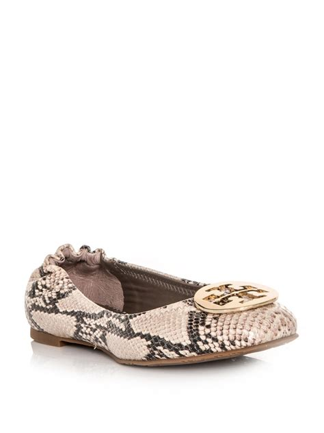beige shoes burch reva python flat shoes in beige lyst