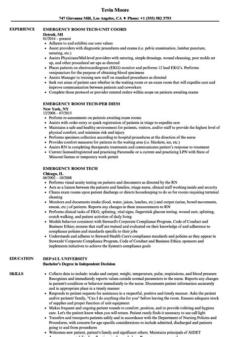 Emergency Room Tech Resume Templates Krida Info Best Tech Resume Templates