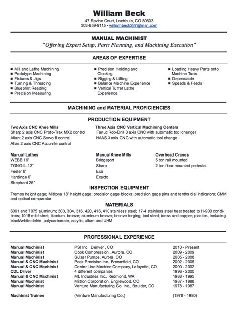 free sle resume machine operator new cnc machinist resume sles http resumesdesign new cnc machinist resume sles