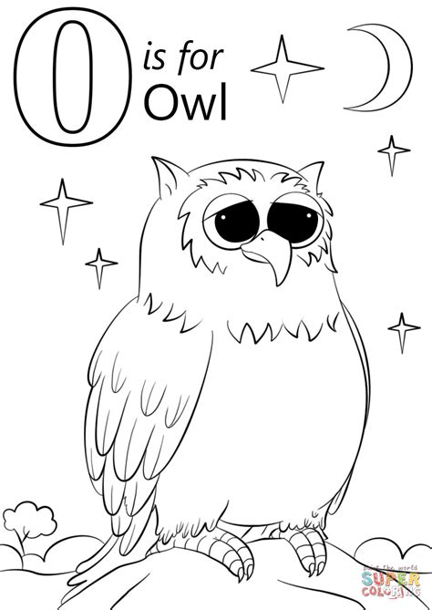 O The Owl Coloring Page by Letter O Is For Owl Coloring Page Free Printable