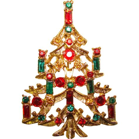 vintage christmas tree brooch red green rhinestones from
