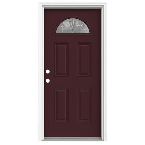 Prehung Fiberglass Exterior Doors Shop Reliabilt Fan Lite Decorative Currant Prehung Inswing Fiberglass Entry Door Common 32 In