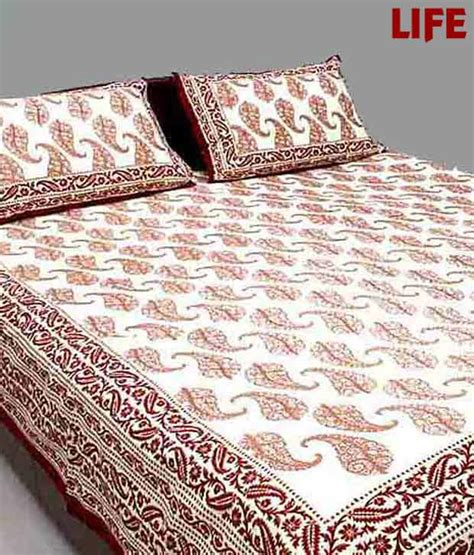 maroon bed sheets life off white maroon double bed sheet set buy life