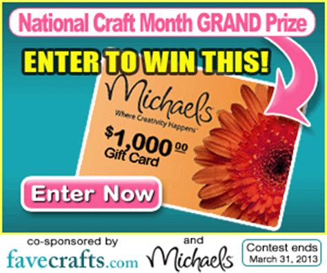 Michaels Gift Card Deal - enter to win 1000 michaels gift card from favecrafts